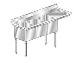 Aero 16 Gauge 430 Stainless Three Compartment NSF Sink, 30 x 100 x 26 inch -- 1 each.