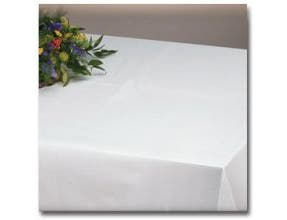 Hoffmaster 8108 Linen-Like Select White Poly Table cover - Banquet Size 50 x 108 inch -- 24 per case.