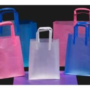 Kal Pac Corporation Trifold Handle Queen Size Plastic Shopping Bag - Blue, 16 x 6 x 18 x 6 inch -- 250 per case.