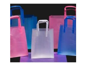 Kal Pac Corporation Trifold Handle Queen Size Plastic Shopping Bag - Silver, 16 x 6 x 18 x 6 inch -- 250 per case.