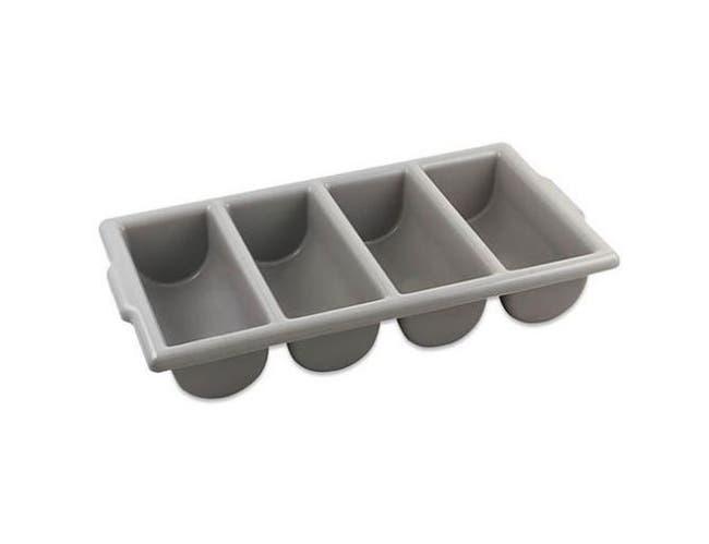 Alegacy Plastic Gray 4-Compartment Cutlery Box, 21 1/2 x 11 3/4 x 3 3/4 inch -- 1 each.