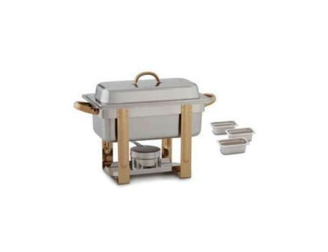 Alegacy The Original Six In One Gold Accented Chafer with Three 88192 Pan, 1/3 x 2 inch -- 1 each.