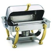 Alegacy Savoir Half Size Stainless Steel Dome Cover Chafer with Brass Leg, 17 x 15 1/8 x 15 5/8 inch -- 1 each.