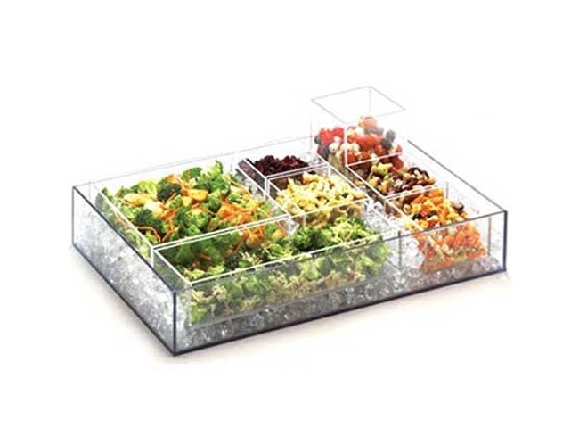 Cal Mil Salad Bar Accessories Cater Choice Clear Acrylic Five Sided Box, 5 x 15 x 3 inch -- 1 each.
