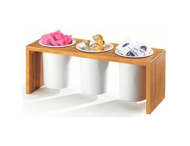 Cal Mil Bamboo Three Compartment Cylinder Display Stand, 16 x 5.5 x 6 inch -- 1 each.