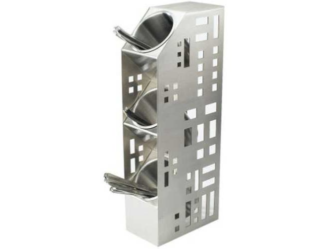 Cal Mil Stainless Squared 3 Cylinder Vertical Display Stand, 4.875 x 8 x 20.5 inch -- 1 each.