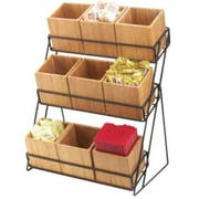 Cal Mil Bamboo 9 Bin Black Iron 3 Tiered Display, 13 x 9.5 x 17.5 inch -- 1 each.