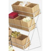 Cal Mil Bamboo 9 Bin Silver Iron 3 Tiered Display, 13 x 9.5 x 17.5 inch -- 1 each.