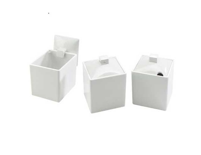 Cal Mil White Melamine Extra Notched Lid Only, 4 x 4 x 1 inch -- 6 per case.