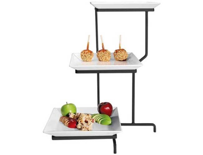 Cal Mil Black Prestige Porcelain 3 Tier Square Incline Display, 16 x 26 x 22 inch -- 1 each.