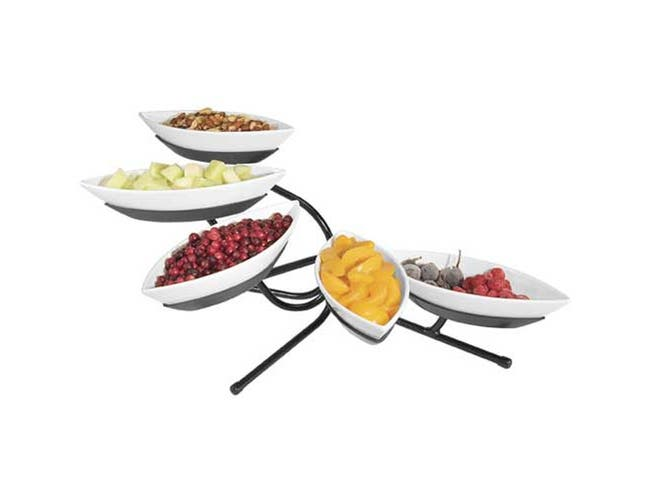 Cal Mil Black Melamine 5 Tier Small Canoe Display, 29 x 13 x 16 inch -- 1 each.