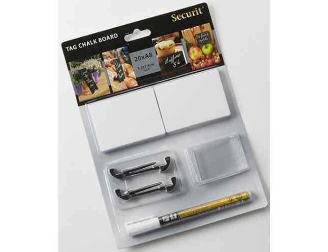 American Metalcraft Small White Mini Chalk Card Set -- 15 set per case.