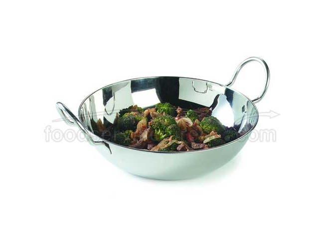 9.5 inch High Polish 18-2 Stainless Steel Balti Dish -- 1 each