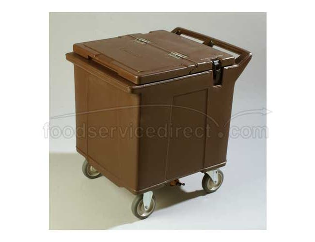 Brown Cateraide 125 Pound Tall Ice Caddy with Nylex Latches 2 Rigid Casters 2 Swivel Casters -- 1 each