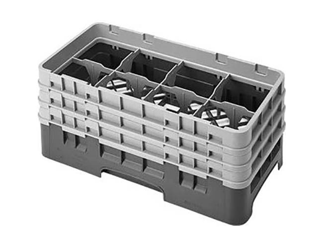 Cambro Camrack Polypropylene Sherwood Green Half Size 8 Compartment Glass Rack, 6 7/8 inch -- 3 per case.