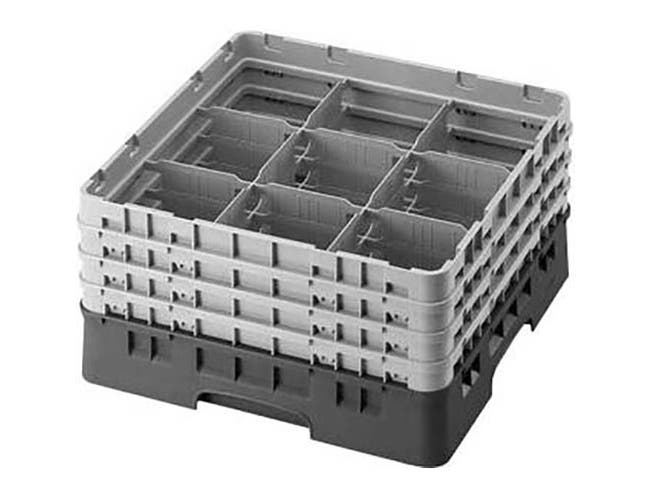 Cambro Camrack Polypropylene Black Full Size 9 Compartment Glass Rack, 6 7/8 inch -- 3 per case.