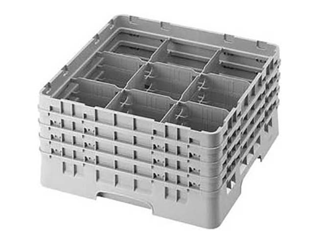 Cambro Camrack Polypropylene Soft Gray Full Size 9 Compartment Glass Rack, 8 1/2 inch -- 2 per case.