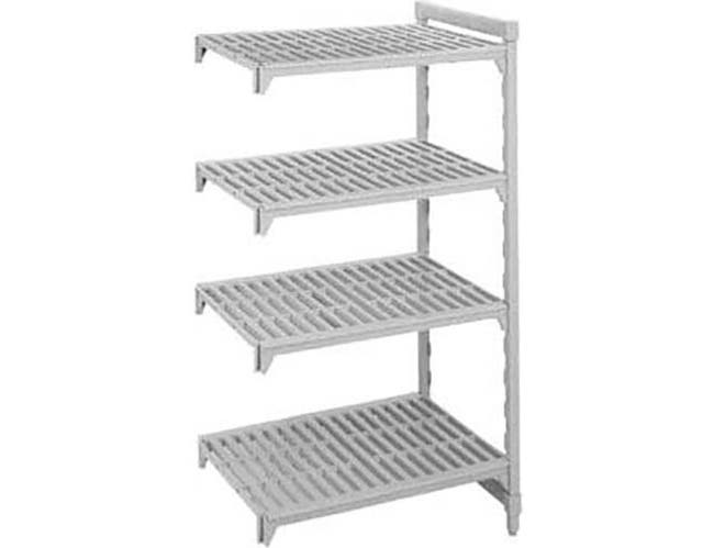 Cambro Brushed Graphite Basics Plus 4 Shelf Add-On Units Vented Shelves with 3 Vented Plus 1 Solid, 18 x 36 x 84 inch -- 1 each.