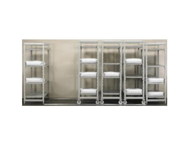 Cambro Camshelving Speckled Gray High Density Mobile Starter Unit with 4 Vented Shelves, 24 x 42 x 75 inch -- 1 each.