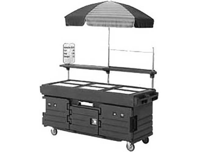 Cambro Navy Blue CamKiosk Cart with 6 Countertop Food Pan Wells, 85 1/8 x 94 x 33 1/2 inch -- 1 each.