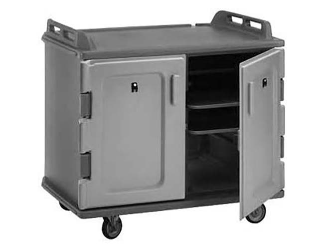 Cambro Slate Blue Low Profile Double Door Double Compartment 20 Tray Meal Delivery Cart, 55 1/8 x 43 1/4 x 38 inch -- 1 each.