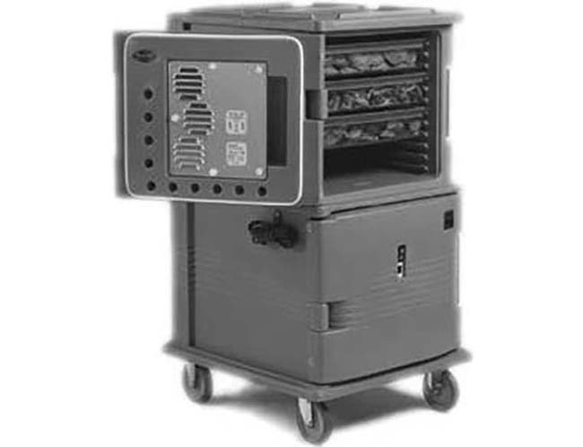 Cambro 110 Voltage Dark Brown 2 Compartment Hot Holding Ultra Camcart with Heated Top Door Only, 28 3/4 x 54 1/8 x 33 3/8 inch -- 1 each.