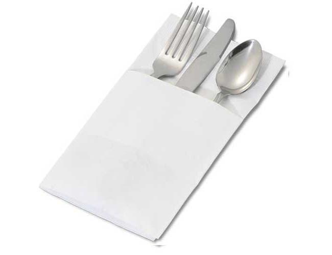 Dinex White 2 Ply Pocketfold Paper Recycled Dinner Napkin, 17 x 17 inch -- 1200 per case.