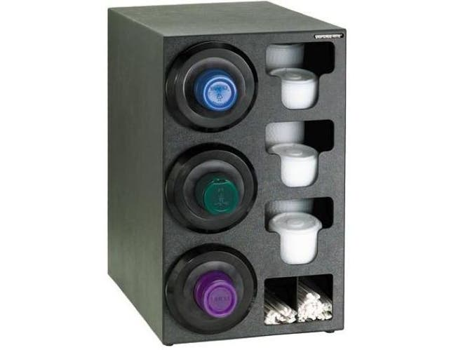 Dispense-Rite Black Polystyrene Countertop Cup, Lid and Straw Dispensing Cabinet, 24 1/4 x 13 x 23 Inch -- 1 each