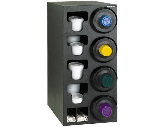 Dispense-Rite Black Polystyrene Countertop Cup, Lid and Straw Dispensing Cabinet, 32 1/4 x 13 x 23 Inch -- 1 each