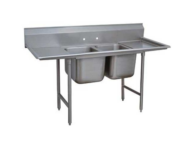 Super Saver 900 Series Stainless Steel Regaline Sink with 2 Compartment, 2 Drain Board.Overall Length 109 inch -- 1 each.