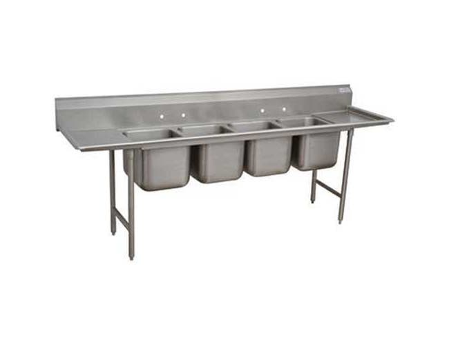 Super Saver 900 Series Stainless Steel Regaline Sink with 4 Compartment, 2 Drain Board.Overall Length 138 inch -- 1 each.