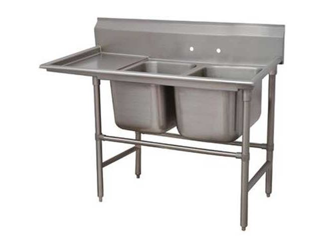 Spec-line 940 Series Stainless Steel Regaline Sink with 2 Compartment, Left Drain Board.Overall Length 58 inch -- 1 each.