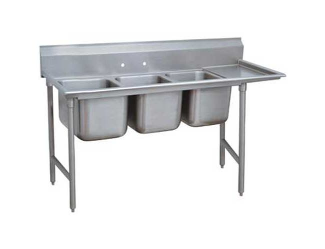 Super Saver 900 Series Stainless Steel Regaline Sink with 3 Compartment, Right Drain Board.Overall Length 101 inch -- 1 each.