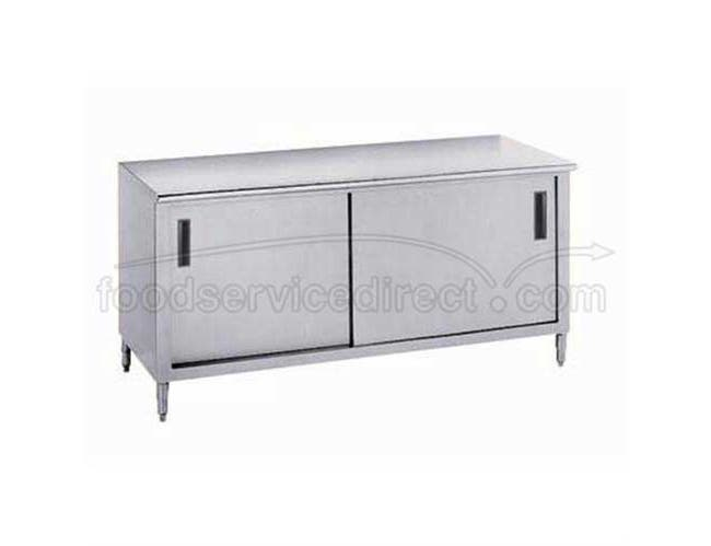 Stainless Steel Enclosed Base Work Table With Slide Doors 24x120 inch -- 1 each.
