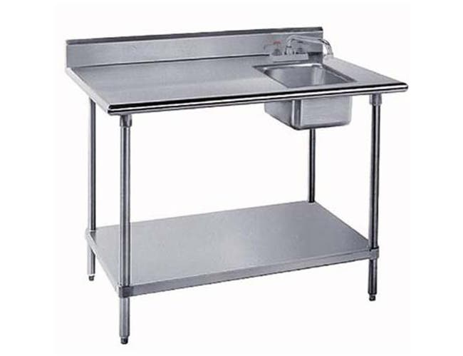 Stainless Steel Table With Right Side Sink. Size : 30 inch x72 inch -- 1 each.