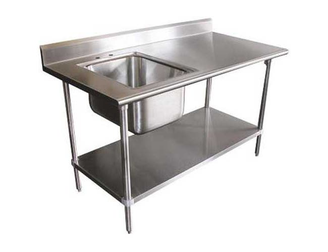 Stainless Steel Table With Left Side Sink. Size : 30 inch X 60 inch -- 1 each.