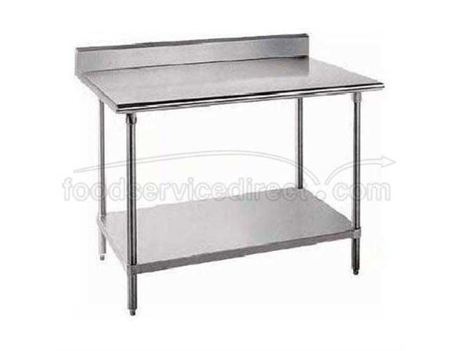 Standard Stainless Steel Work Table, 5 inch Back Splash With Stainless Steel Legs and Undershelf, 24 x 30 -- 1 each.