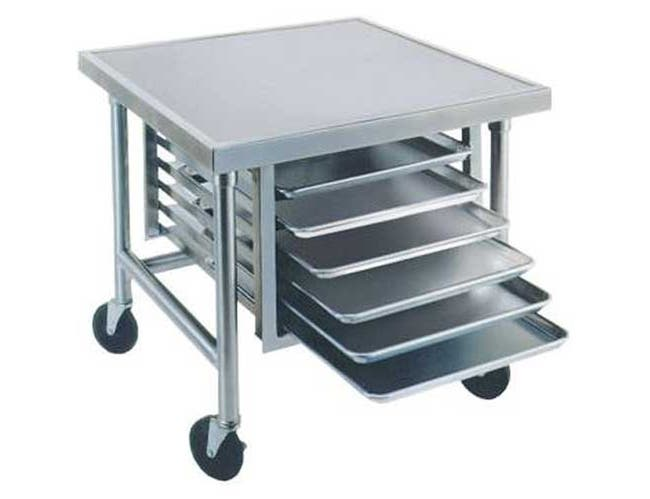 Galvanized Mobile Mixer Table with Tray Slides and Caster. Size : 30 inch X 36 inch -- 1 each.
