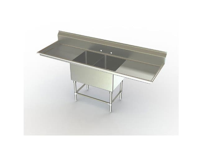 Aero Aerospec Two Compartment NSF Sink - 14 Gauge, 21 inch wide -- 1 each.