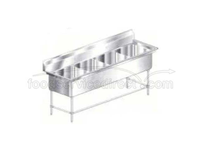 Aero 16 Gauge 430 Stainless Four Compartment Non NSF Sink, 75 x 24 x 36 inch -- 1 each.