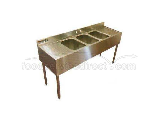 Aero 16 Gauge 430 Stainless Three Compartment NSF Convenience Store Sink, 20 x 56 x 17 inch -- 1 each.