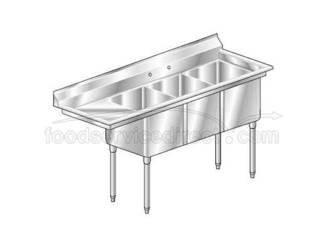 Aero 16 Gauge 430 Stainless Three Compartment NSF Sink, 27 x 70 x 24 inch -- 1 each.