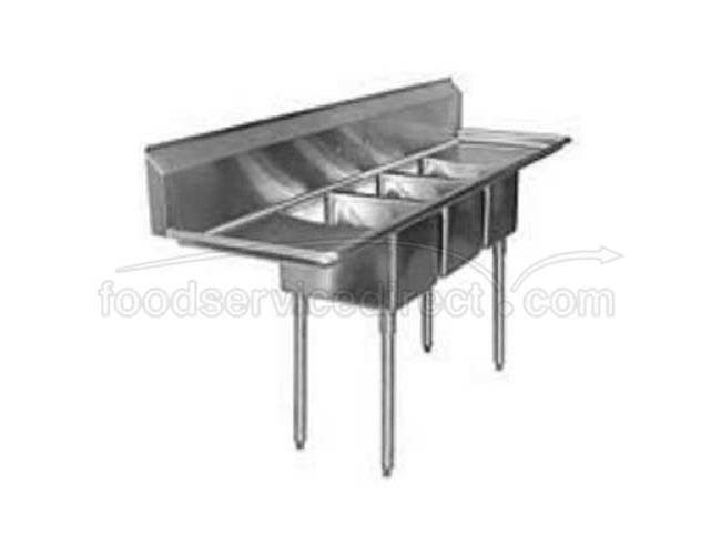 Aero 16 Gauge 430 Stainless Three Compartment NSF Sink, 27 x 87 x 24 inch -- 1 each.