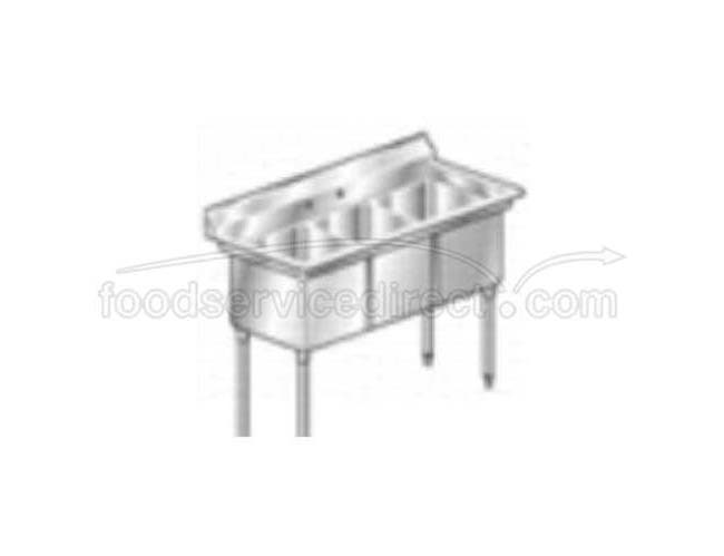 Aero 16 Gauge 430 Stainless Three Compartment NSF Sink, 27.5 x 53 x 24 inch -- 1 each.