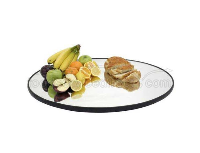 Buffet Enhancements Food Display Centerpiece Mirror Tray - Round Rimmed, 14 inch -- 1 each.