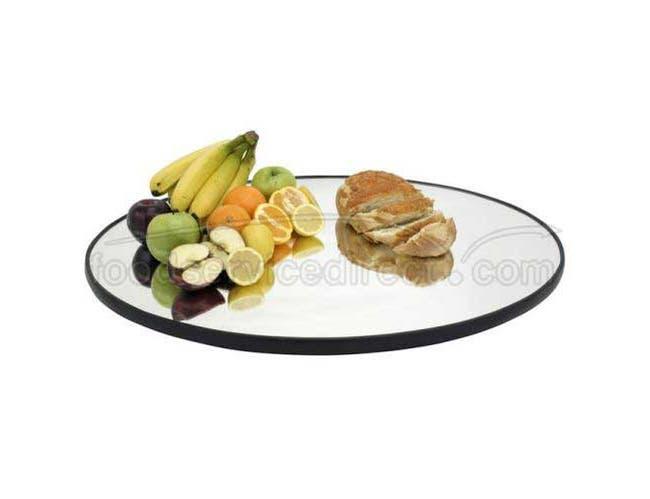 Buffet Enhancements Food Display Mirror Tray - Oval Rimmed, 32 x 24 inch -- 1 each.