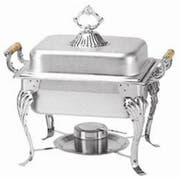 Thunder Group Stainless Steel Half Size Square Wood handle Deluxe Chafer Set, 4 Quart -- 1 each.