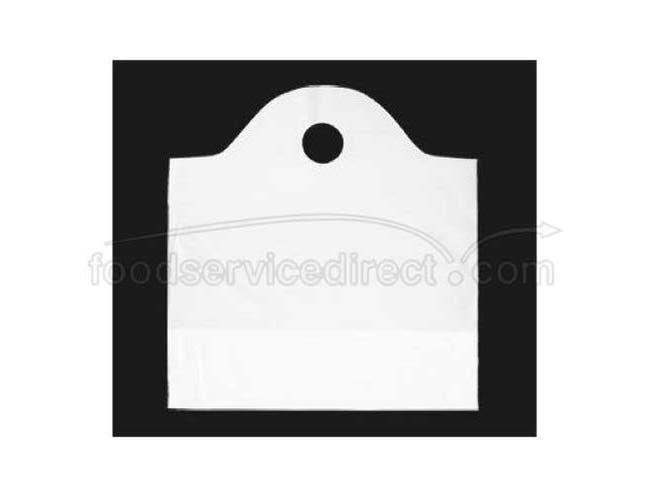 Kal Pac Corporation Round Die Cut Handle Wavy Top Food Service Bag - White, 19 x 19 x 10 inch -- 1000 per case.