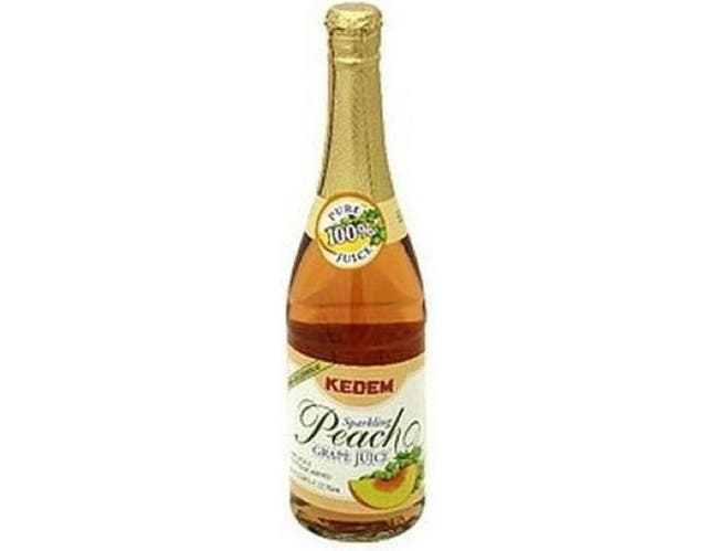Kedem Sparkling Peach Grape Juice, 25.4 Ounce -- 12 per case.