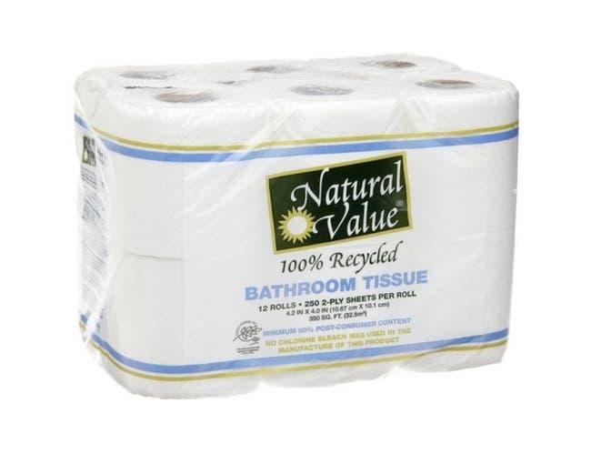 Natural Value 100 Percent Recycled Bathroom Tissue, 250 sheets per roll - 12 rolls per pack -- 8 packs per case.